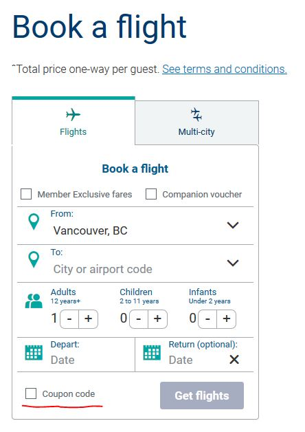 Westjet Book a Flight