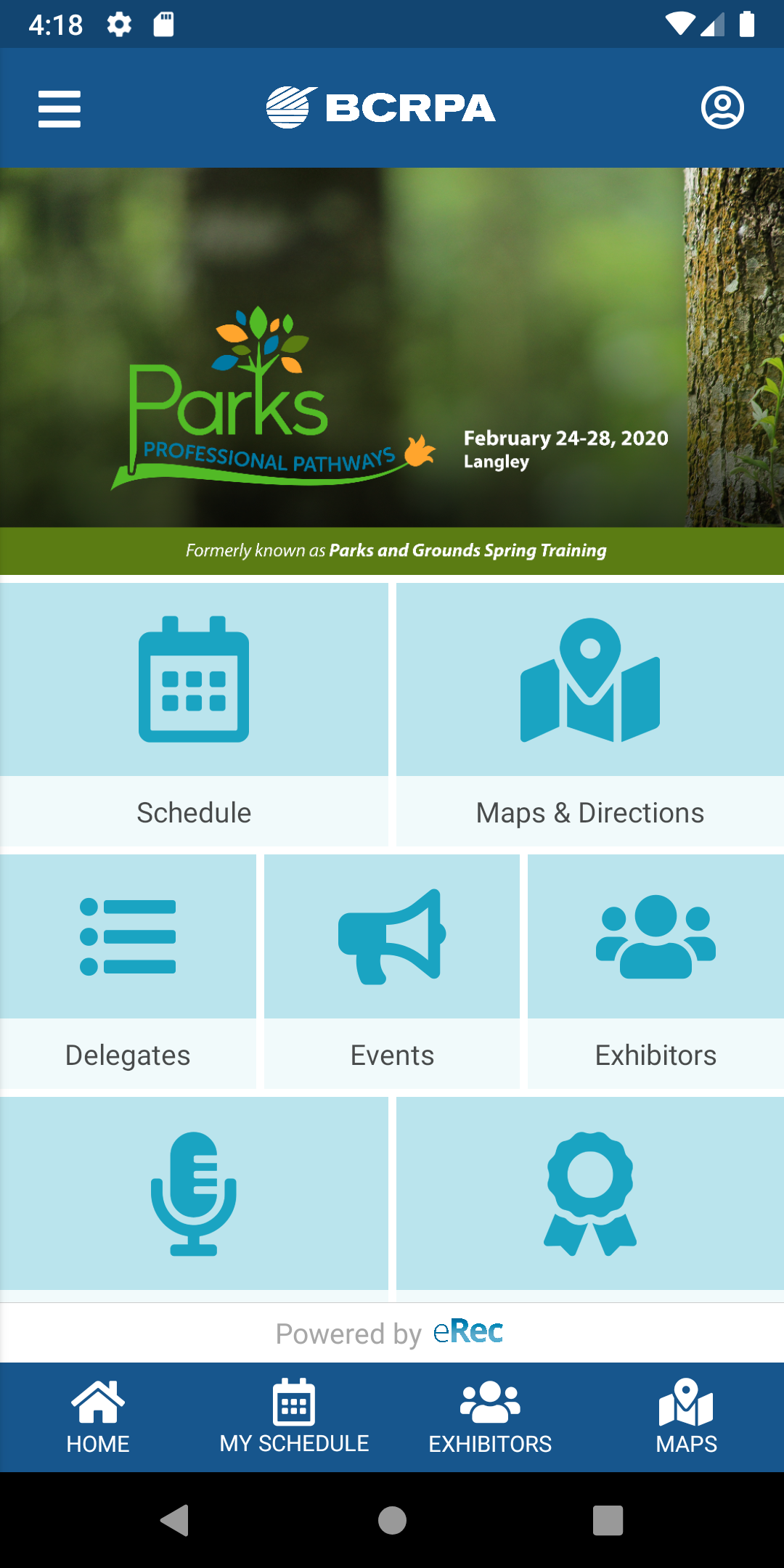 Parks 2020 Main Screen
